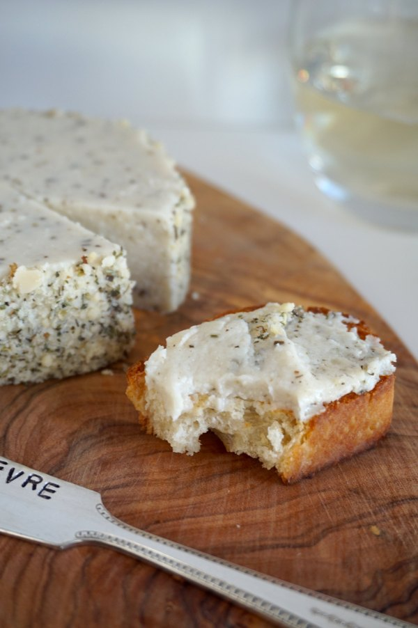 Almond Cheese Spread on Baguette | thelittleredspoon.com