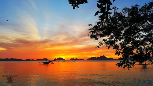 Sunset in Corong-Corong Beach, El Nido, Palawan
