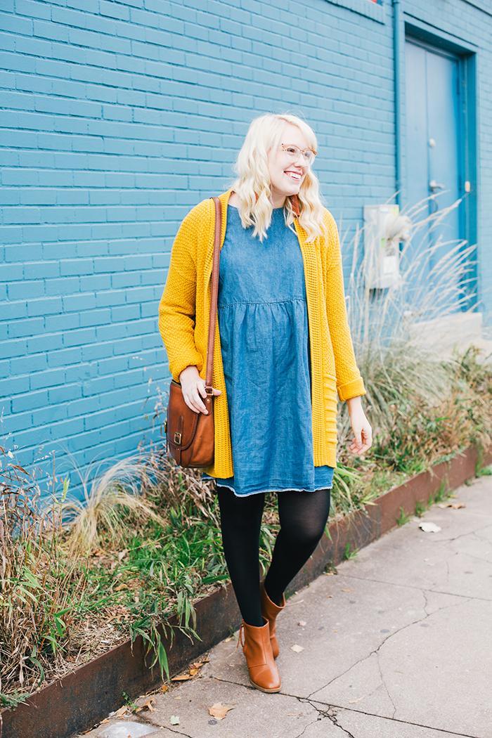 austin style blogger asos smock dress yellow sweater4