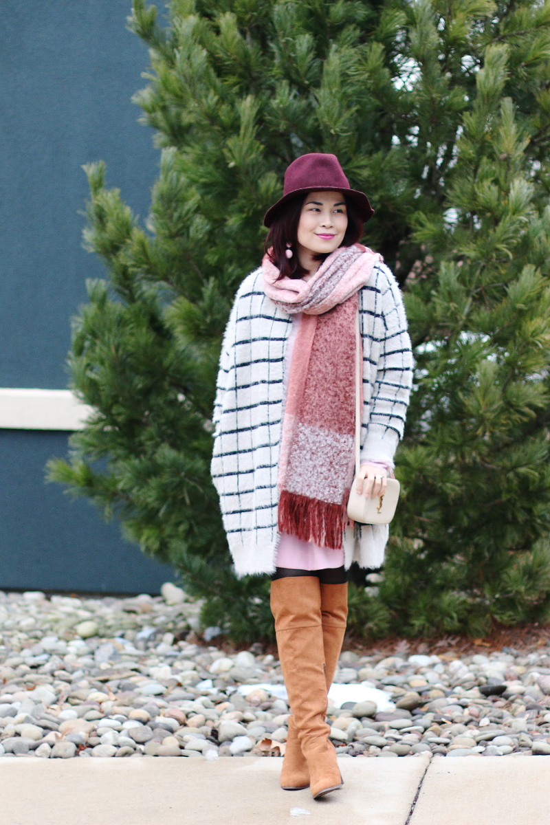 burgundy-hat-pink-scarf-window-pane-cardigan-otk-boots-ysl-bag-2