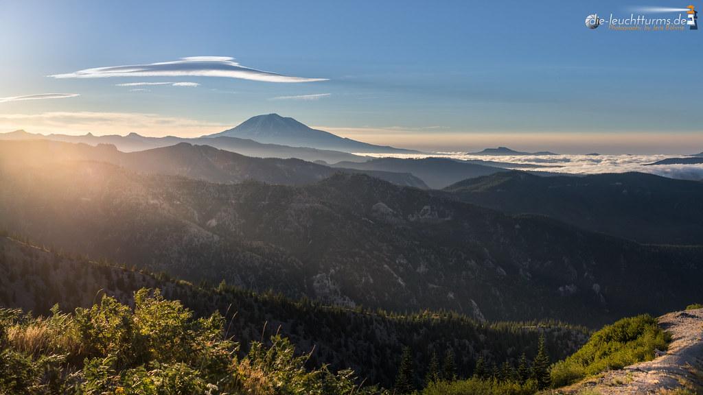 Mount Adams with striping morning sun