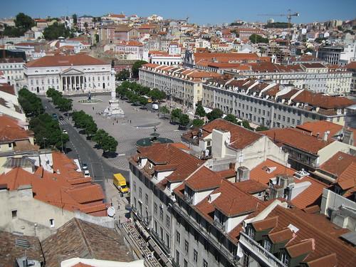 Plaza del Rossio desde el Elevador de Santa Justa. ViajerosAlBlog.com.