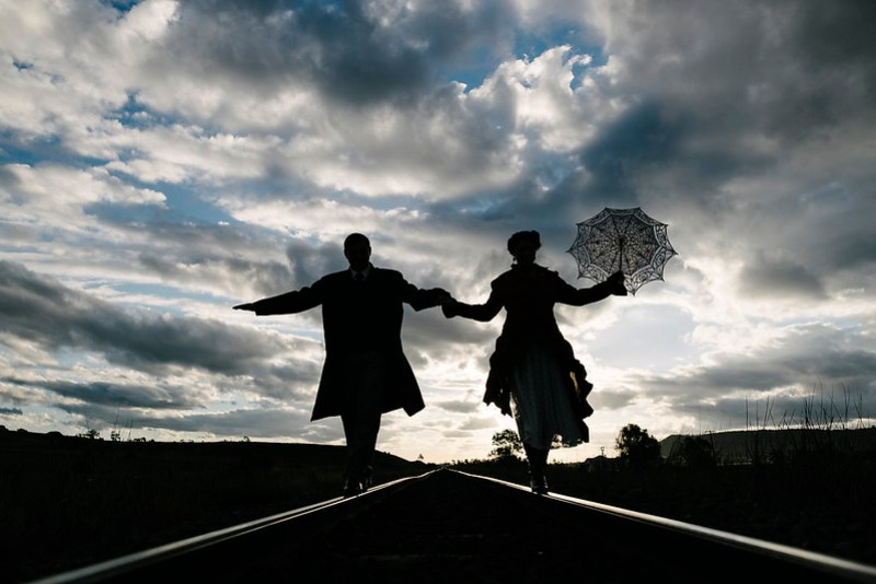 Steampunk wedding couples: don't forget to have a soft dart gun duel!