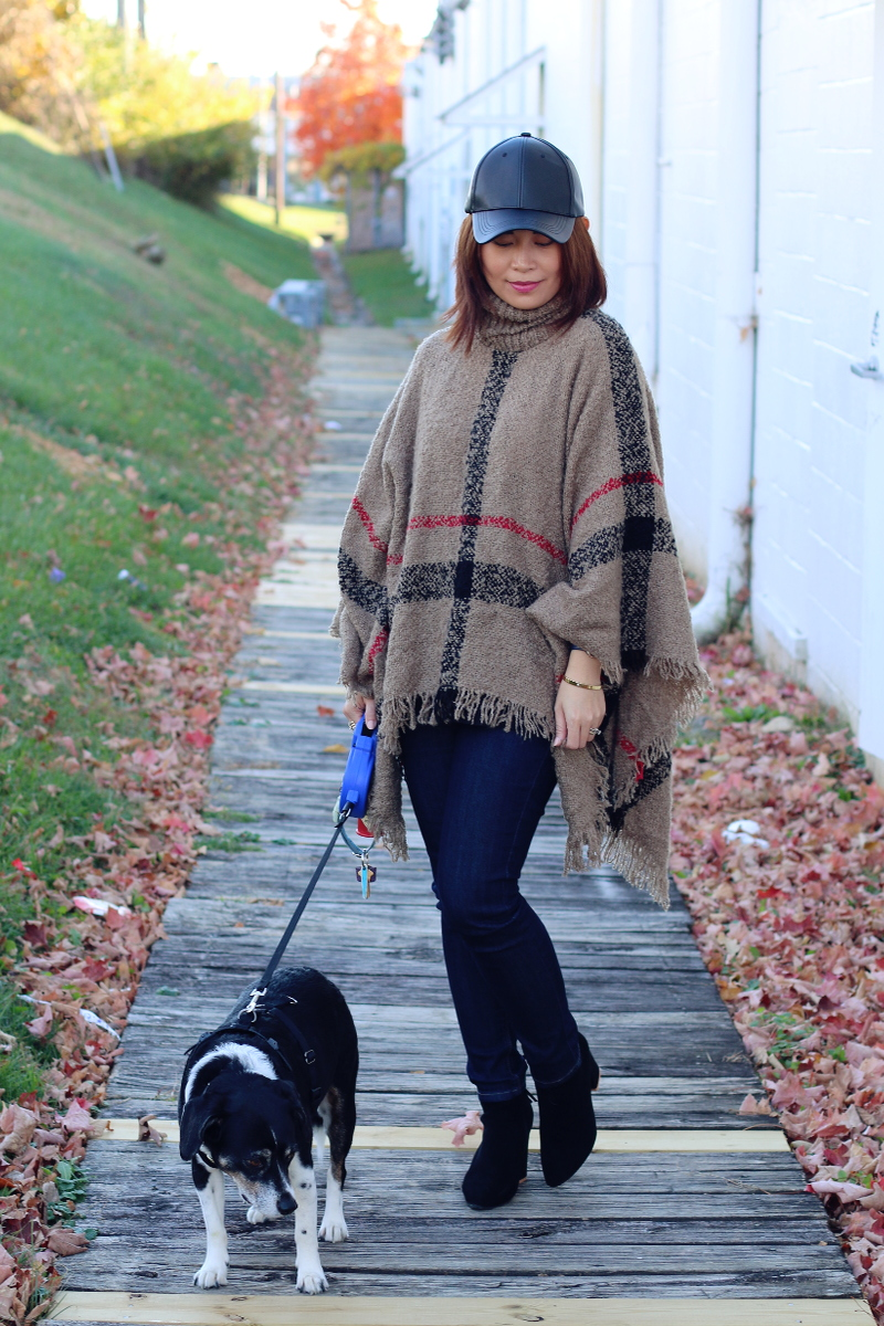 sammy-dress-plaid-poncho-faux-leather-cap-dog-2