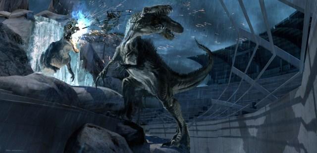 JurassicWorld_RaptorStadium_IndominusRex_DestroyesMechanicalRex por Seth Engstrom