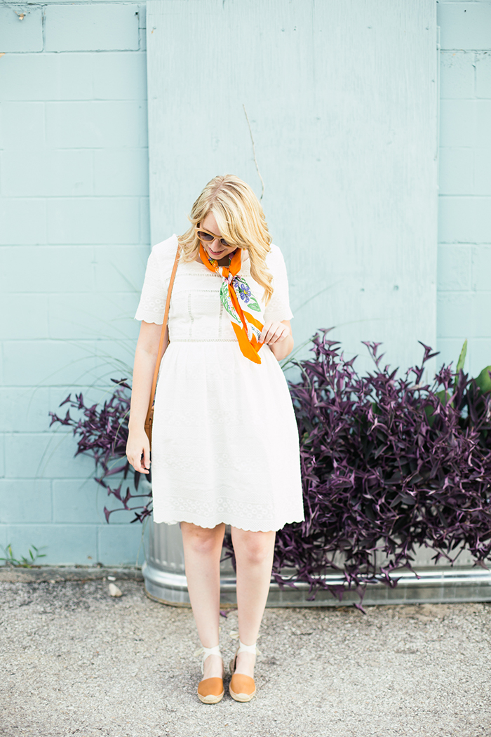 styling a square silk scarf