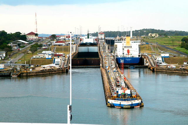 1 - entering the first set of locks from the atlantic