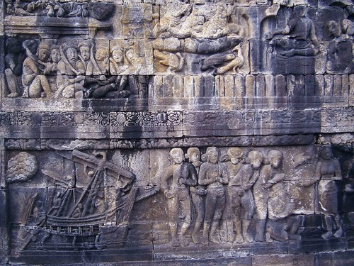 Borobodur Ship Bas Relief Carving