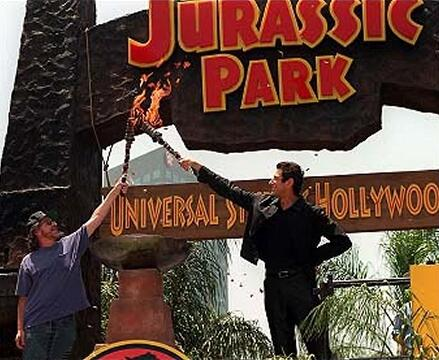 Goldblum & Spielberg open the JP ride at UniStudios Hollywood in 1996