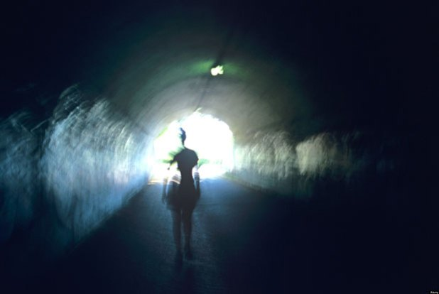 man in a tunnel