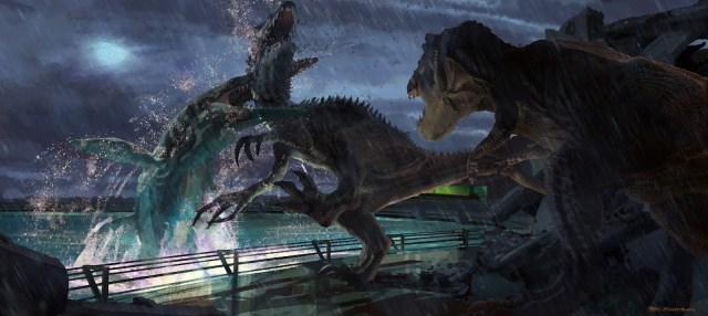 JurassicWorld_MosasaurusEatsIndominusRex por Seth Engstrom