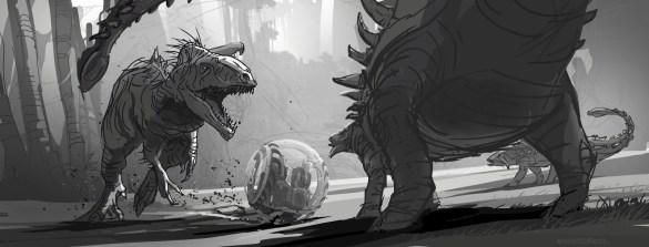 JurassicWorld_IndominusRex_FightSketch por Seth Engstrom