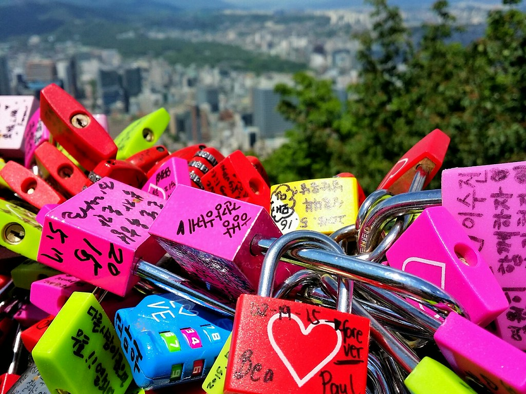Namsan Tower lovelocks which are colorful