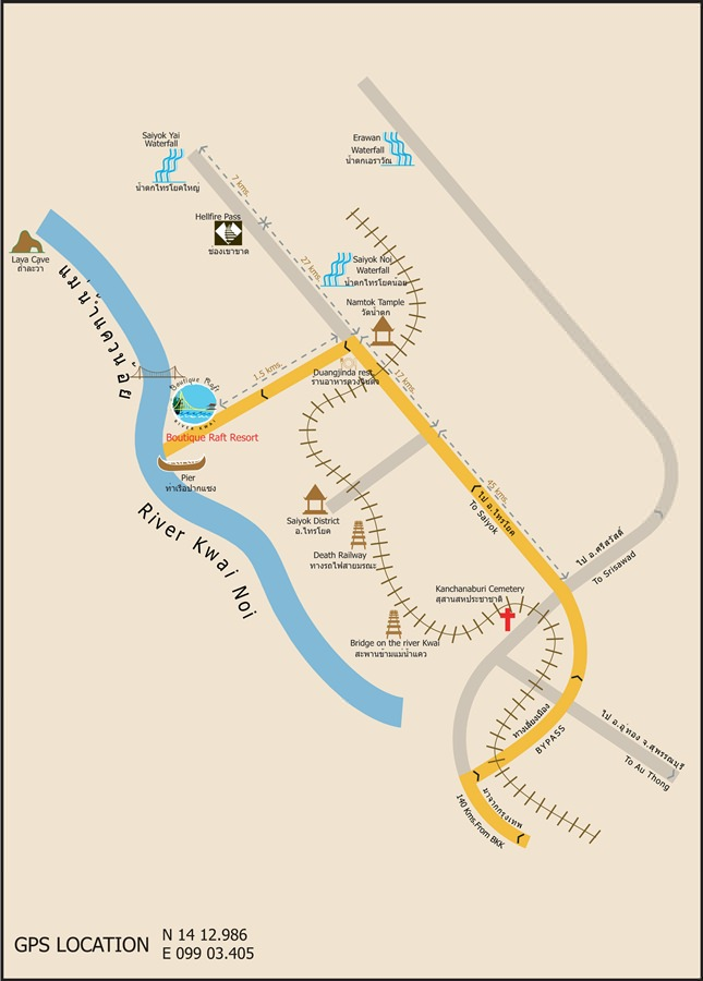 Boutique Raft Resort River Kwai Map