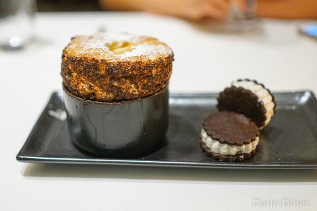 cookies 'n cream soufflé vanilla anglaise / ice cream sandwiches