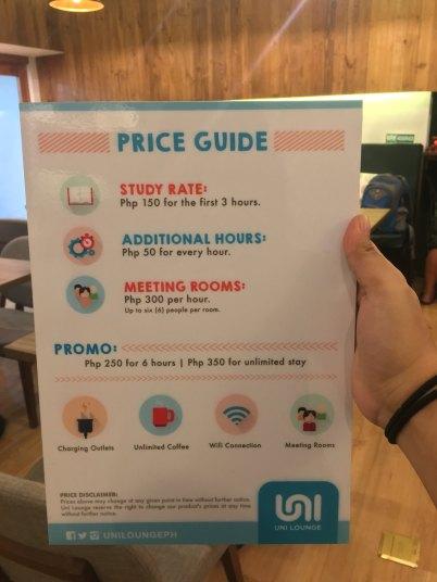 Uni Lounge: Price Guide