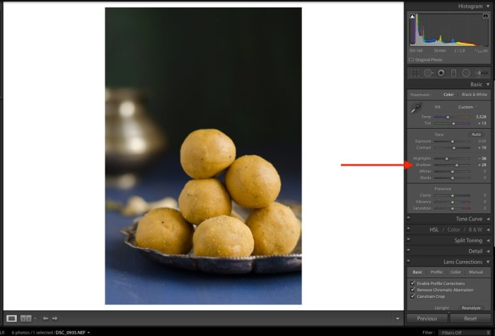 Shadows, Shadows in Lightroom, Lightroom Tutorial for Food photos, Lightroom tutorial, Editing RAW files in Lightroom,  Lightroom Food Tutorial, How to edit food photos in Lightroom,