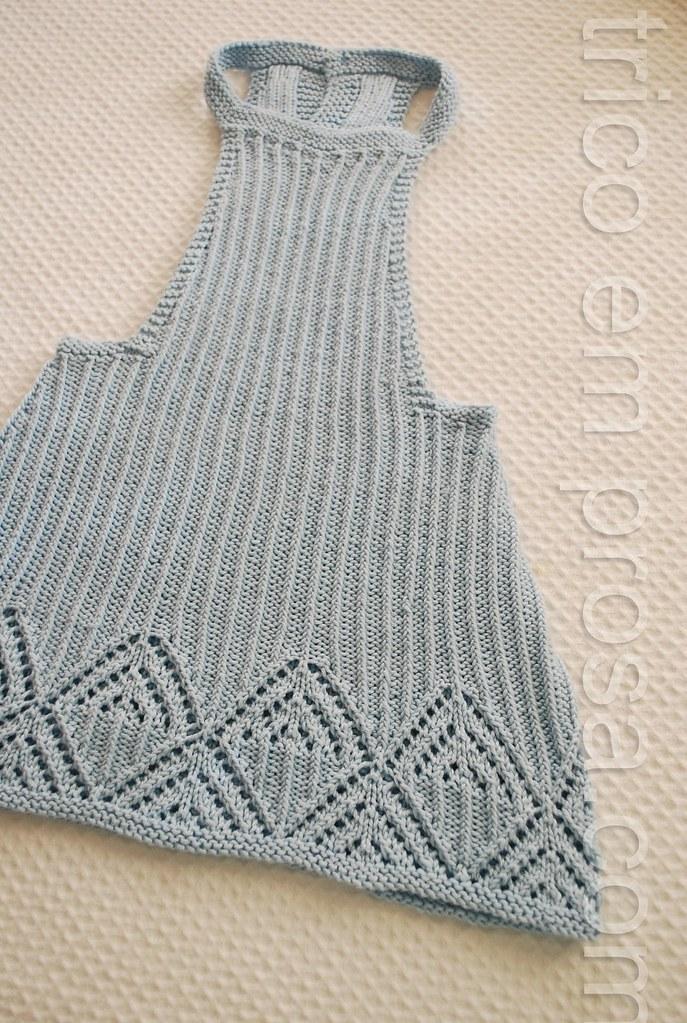 tricô em prosa - uma salopete - frente da salopete