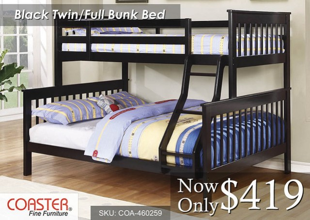 Black Twin-Full Bunk Coaster