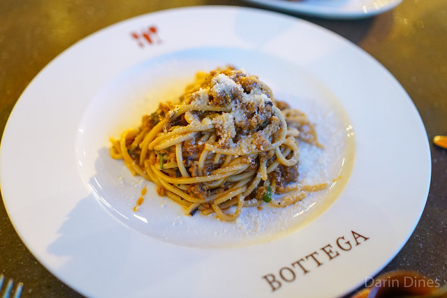 Tagliarini Bolognese Veal, pork, and Porcini mushroom sugo with rosemary and Parmigiano Reggiano