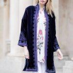 Midnight blue velvet Moroccan coat
