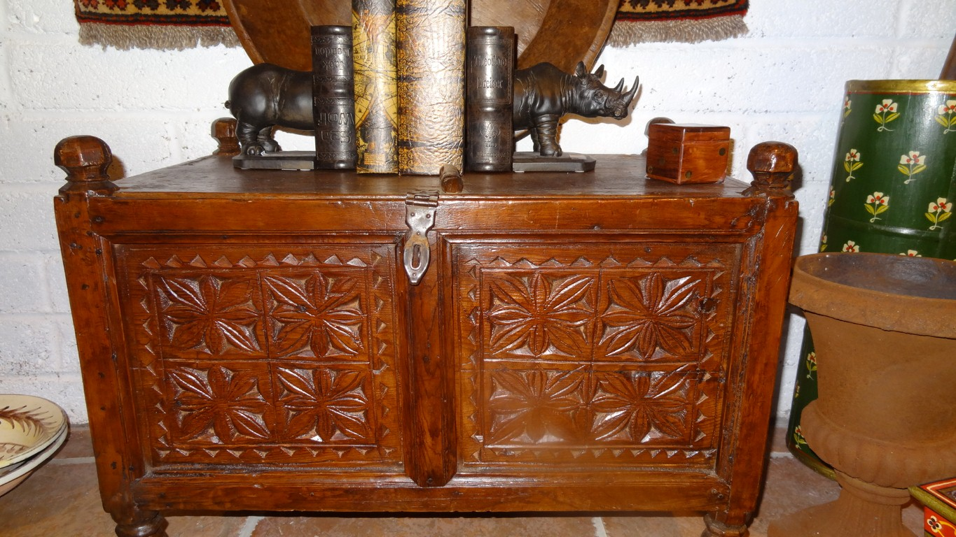 Carved Wood Chest From The Swat Valley