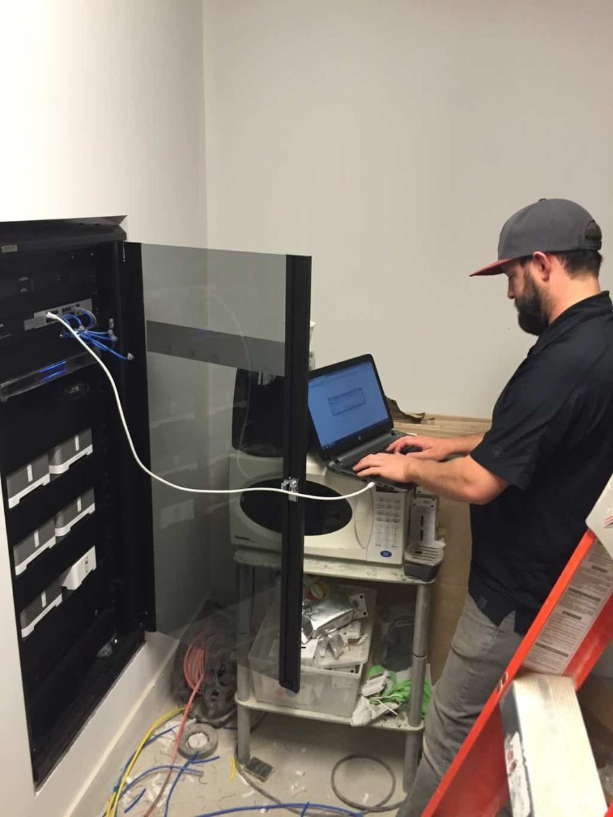 Technician configuring the network