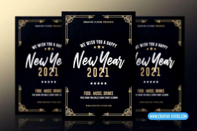 Art Deco New Year Flyer Template Creative Flyers