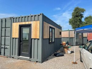 Photo of a lot displaying container homes
