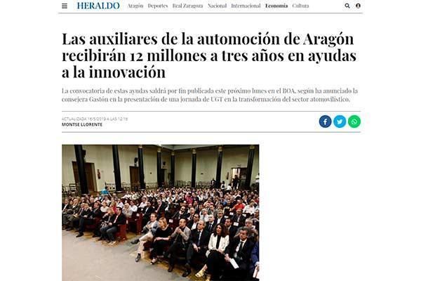 Las auxiliares de la automoción de Aragón recibirán 12 millones a tres años en ayudas a la innovación