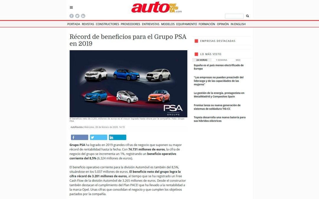 Récord de beneficios para el Grupo PSA en 2019