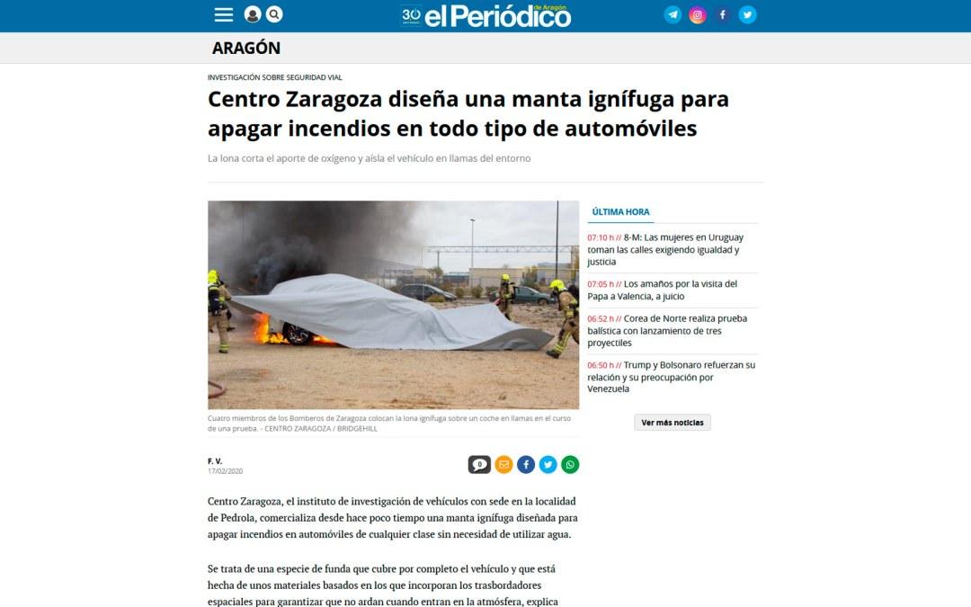 Centro Zaragoza diseña una manta ignífuga para apagar incendios en todo tipo de automóviles