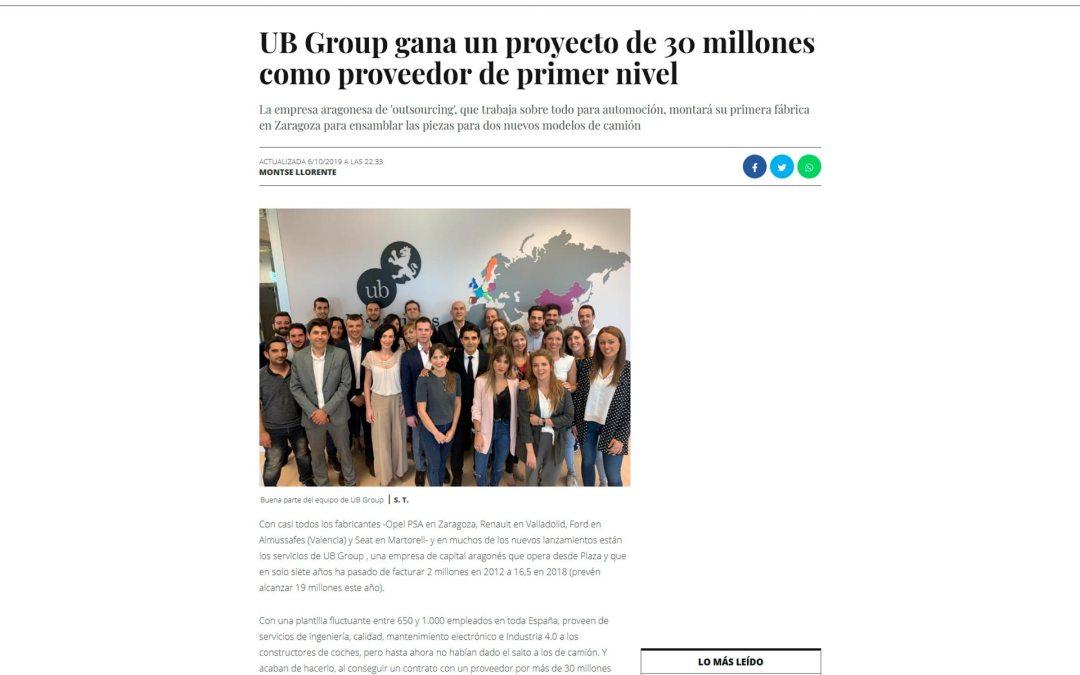 UB Group gana un proyecto de 30 millones como proveedor de primer nivel