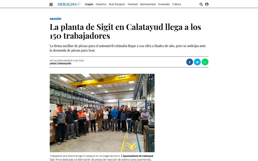 La planta de Sigit en Calatayud llega a los 150 trabajadores