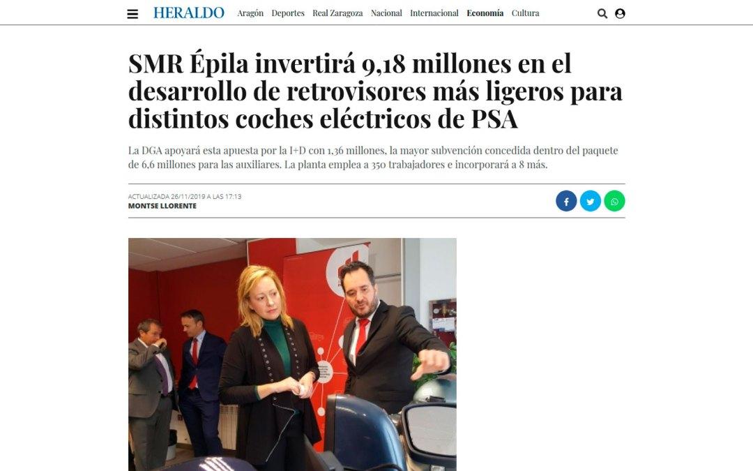 SMR Épila invertirá 9,18 millones en el desarrollo de retrovisores más ligeros para distintos coches eléctricos de PSA