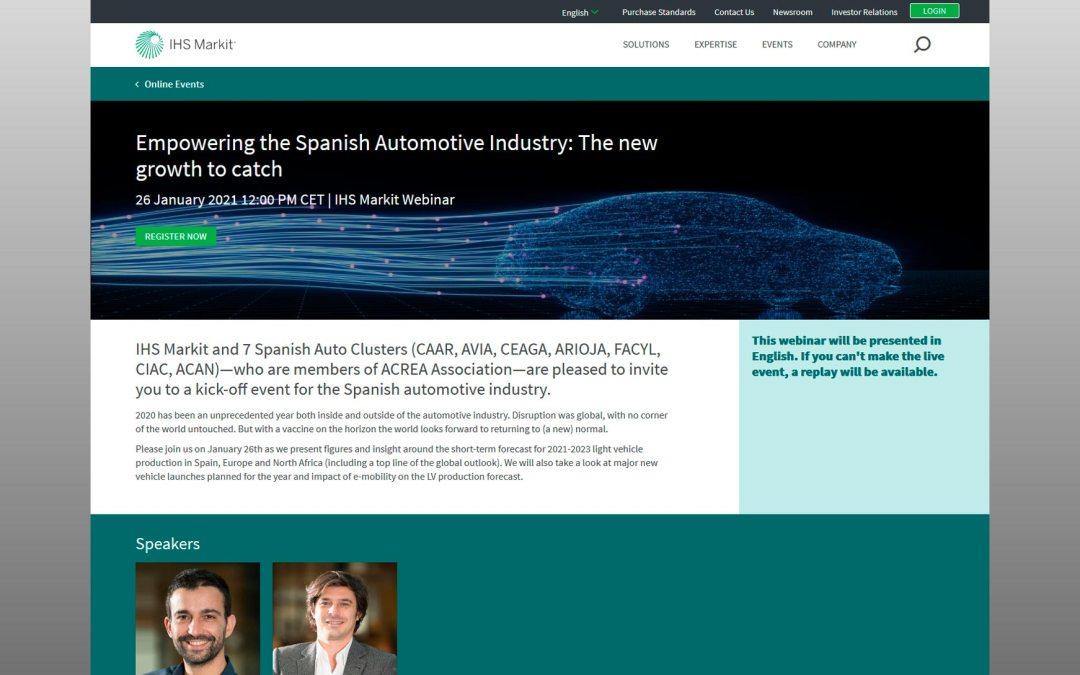 """Webinar con 7 clústeres españoles de automoción e IHS Markit """"Empowering the Spanish Automotive Industry""""."""