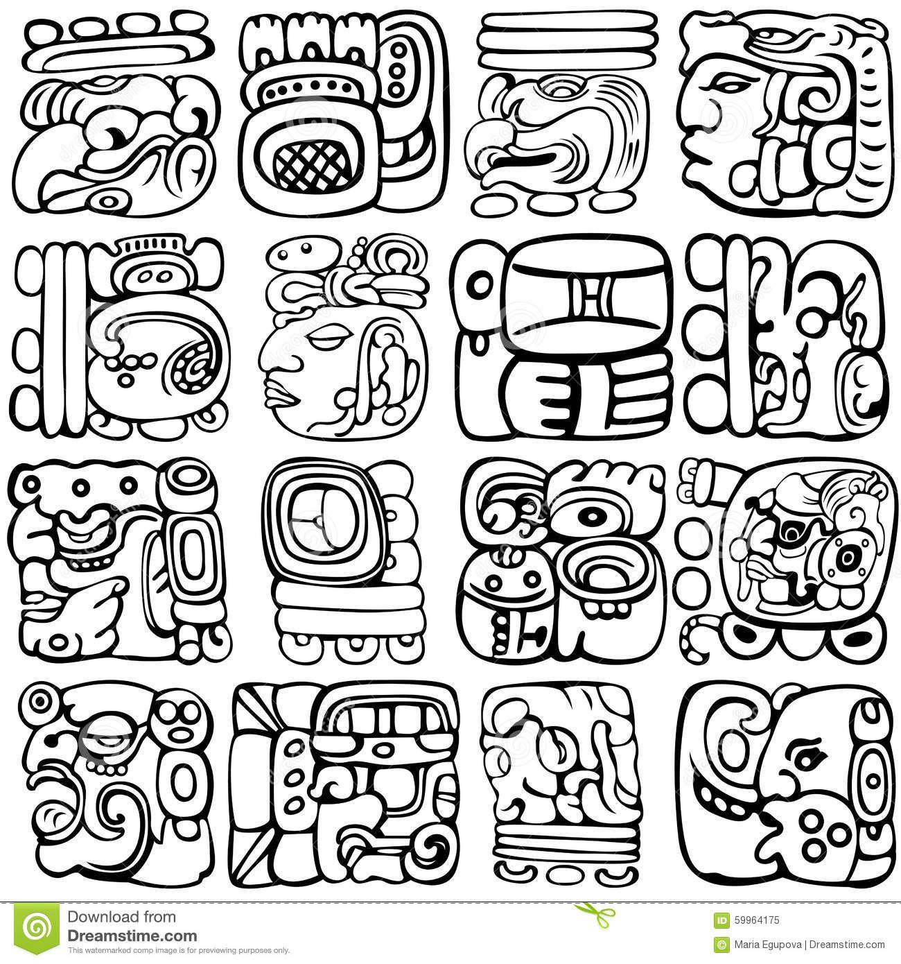 Mayan Glyphs Vector Set Aztec Ancient Gods Characters