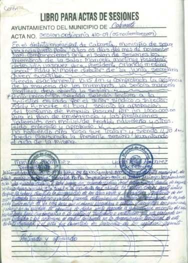 sesion 10-09 falsificada en el libro de actas de la junta distrital de Cabarete