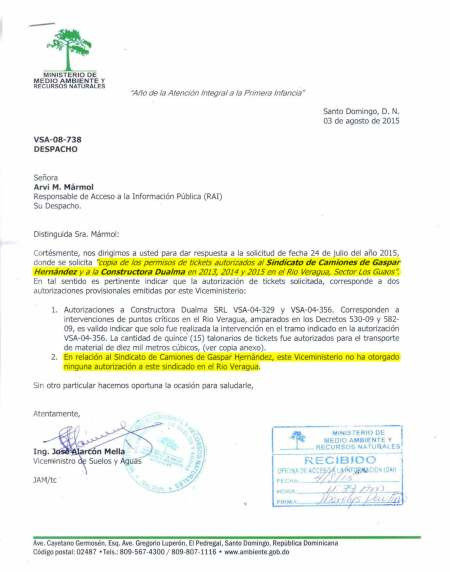repuesta medio ambiente permisos sector los guaos