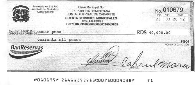 Ejemplo de cheque emitido por la junta distrital de Cabarete por un combustible que nunca se compro
