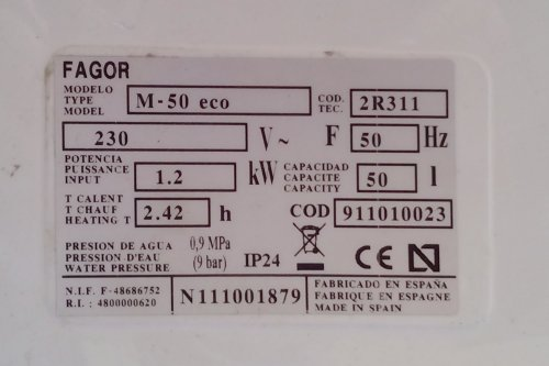 Termo elèctric FAGOR M50 eco, de segona mà a cabauoportunitats.com