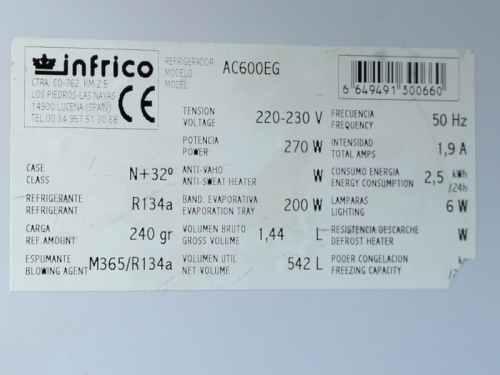 Cambra frigorífica INFRICO 542 litres de segona mà a cabauoportunitats.com Balaguer - Lleida - Catalunya
