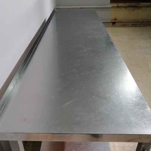 Taula d'acer inoxidable de segona mà de 280cm en venda a cabauoportunitats.com Balaguer - Lleida - Catalunya