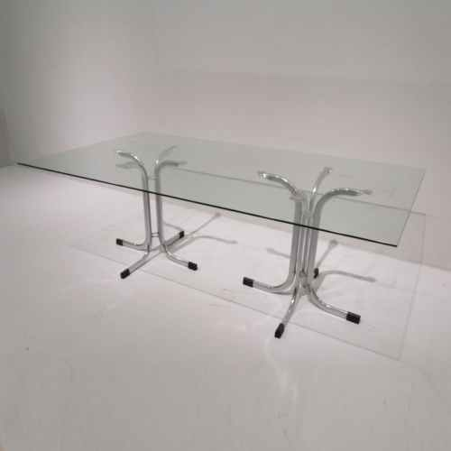 Mesa de cristal y patas de inox de segunda mano en venta en cabauoportunitats.com