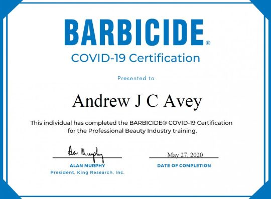 Andy BARBICIDE®️ Covid-19 Certification
