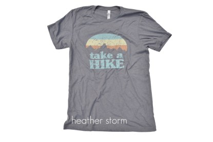 "grey t-shirt that reads ""Take a Hike"""