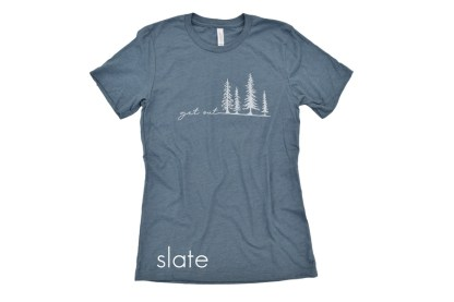 slate blue t-shirt that reads Get Out with tree illustrations