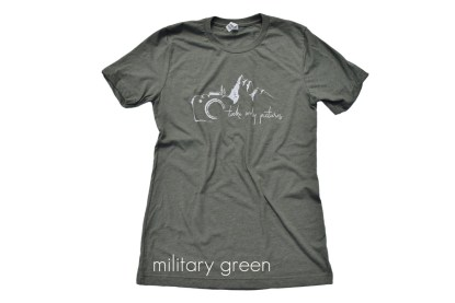military green outdoor photography t-shirt that reads Take Only Pictures