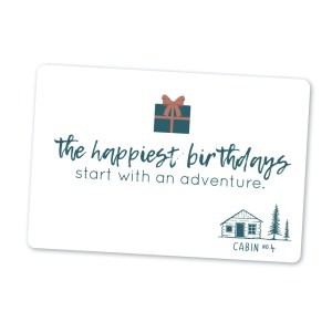 white gift card - the happiest birthday start with an adventure