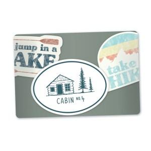grey gift card - three Cabin No. 4 stickers